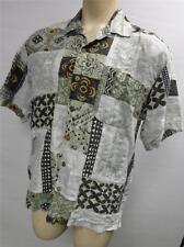 mens TOMMY BAHAMA RELAX abstract linen SILK S/S BUTTON UP SHIRT LARGE HAWAIIAN