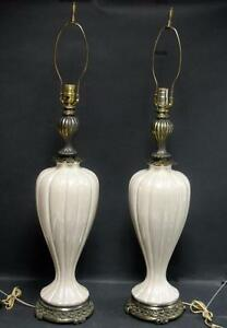 VTG 60s matching PAIR of TALL OPALESCENT GLAZE  PORCELAIN TABLE LAMPS