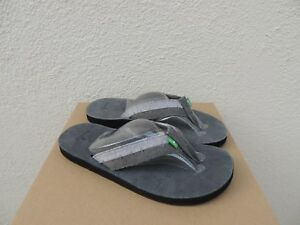 SANUK COAL GREY DR FRAY SUEDE CANVAS SANDALS, MEN SIZE US 9/ EUR 42  ~NWT