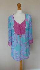 FAB M&S Per Una Pink Purple Blue Gold Paisley Kaftan Top Size 12 BNWT Beachwear