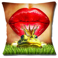 """Kissing Frog Prince 16""""x16"""" 40cm Cushion Cover Red Glossy Pout Lips Multicolour"""