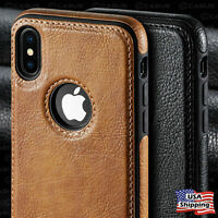 For iPhone 12 11 Pro XR XS MAX 8 7 Plus SLIM Luxury Leather Back Thin Case Cover