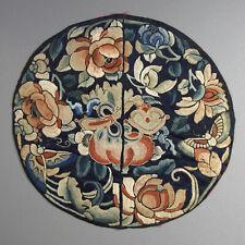 Chinese 19th Century Silk Embroidery with Auspicious Buddhist Symbols