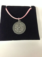 ROMAN FILIGREE SCROLL REFRFSPP  Pewter PENDENT ON A PINK CORD Necklace Handmade