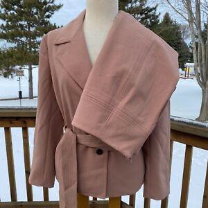 Ann Taylor Two Button Belted Blazer Suit Pencil Skirt Size 14 Set Blush 21413933