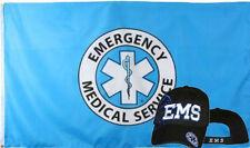 Wholesale Combo 3x5 Emergency Medical Service Flag & EMS Black Shadow Hat Cap