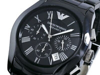 Emporio Armani AR1400 Black Ceramic Bracelet Chronograph Quartz Men's Watch