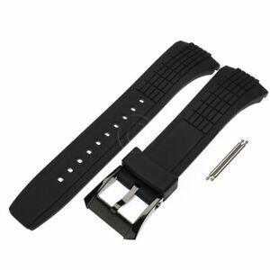 Seiko Watch Band Black Buckle Velatura Kinetic SPC007 SRH013 Black Rubber Strap