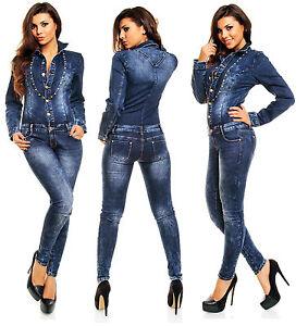 Womens Sexy Denim Jumpsuit Dark Blue Wash Skinny Legs Jeans Overall Size 8 10