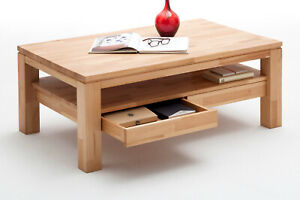 Couchtisch Kern Buche massiv Wohnzimmer Tisch 115 cm geölt mit Schubladen Gordon