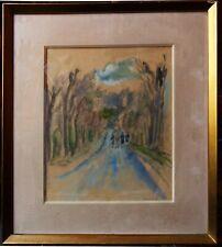 Hermine David (1886-1970), promenade dans un parc, aquarelle années 40