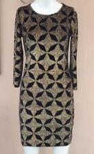 Topshop Velvet Glitter Dress Size 10 Black Gold Bodycon Mini Night Out Party
