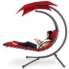 Red Hanging Curved Chaise Lounge Chair Swing For Backyard; Pillow Canopy Stand.