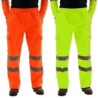 Mens Hi Viz Vis Work Fleece Bottoms Safety Sweat Pants Jogging Trousers Joggers