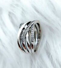 Authentic Pandora Silver Ring 190919CZ  Entwined Wide Ring Band Size 7.5/56mm