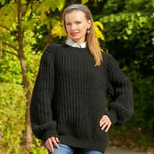 Black wool sweater crewneck jumper hand knitted oversized pullover SuperTanya