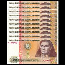 Lot 10 PCS, Peru 500 Intis, 1987, P-134,banknotes, UNC