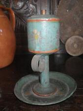Folk Art Paint Tin Whale Oil Lamp Antique Finger Handle