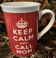 Keep Calm and Call Mom Tall Coffee Tea Cup Mug Red White Bay Island daughter