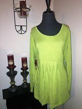 NWT MOTTO Figure Fitting Empire Waist Knit Tunic Shirt CITRUS GREEN Plus Sz 3X