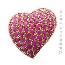 Silber vergoldet mit Rotgold Herz Anhänger Rubine silver heart pendant gilt ruby