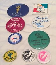 Special Olympics Collectors Pin Back Button Lot. 9 VTG Buttons.