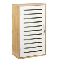 Wandschrank mit Tür Bambus + MDF weiß Badezimmerschrank Hängeschrank Badschrank