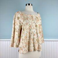 Size XL J Jill Beige Floral Cotton Cardigan Sweater Top Shirt Womens Extra Large