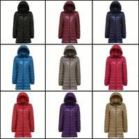 Packable Women's 90% Duck Down Coat Ultralight Hoodie Long Hooded Jacket Puffer