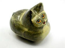 Vintage Hand Painted Wooden Trinket Box Depicting A Cat