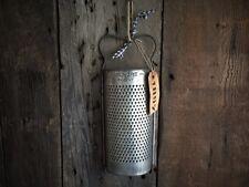 Antique GILMORE HAND HELD TIN METAL GRATER Homespun Tie Primitive Gift Tag