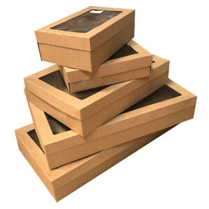 10x Disposable Cardboard Catering Grazing Box w Window Kraft Brown Sizes XS-XL