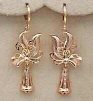 """18K Gold Filled 2/"""" Earring Laser Carving Floret Swirl Windmill Bell Eardrop RE"""