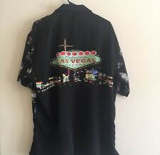 Men's Graphic Las Vegas Gambling Slots Camp Shirt Large Black Button Down Shirt