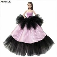 Pink Black Wedding Dress Evening Dress Party Gown Outfit Clothes For Barbie Doll