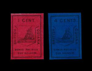 ***REPLICA*** OF 1852 BRITISH GUIANA - 1C MAGENTA, 4C DEEP BLUE, SG 9,10