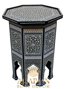 """Egyptian Moroccan 24"""" Height Mother of Pearl Inlay Wood Coffee Side End Table"""