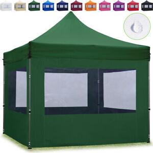 Faltzelt 3x3m Faltpavillon ALU Pavillon Fest Partyzelt mit 4 Seitenteilen grün