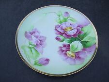 Antique Old Abbey Limoges Pink Flowers Artist Signed Porcelain Plate