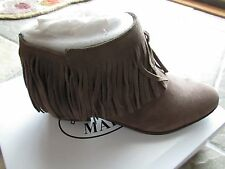 NEW STEVE MADDEN PATZEE TAUPE FRINGE SUEDE ANKLE BOOTS WOMENS 7.5 BOOTIES