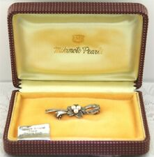 Vintage AAA MIKIMOTO PEARL & SILVER BROOCH / PIN in Original MIKIMOTO Prouds Box