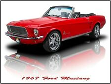 1967 Ford Mustang Convertible in Red Hot Rod Metal Sign: Fully Restored