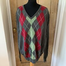 "WOOLOVERS 100% Lambswool V Neck Jumper Argyle Pattern Size XL C48"" Long Sleeves"