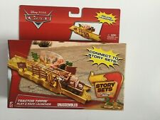 DISNEY PIXAR CARS TRACTOR TIPPIN PLAY & RACE LAUNCHER STORY SET NIB BY MATTEL