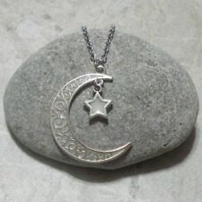 Glow In The Dark Crescent Moon And Star Pendant Necklace Jewelry