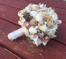XO Bouquets Bride  Bouquet Sea Shells Bridesmaid  Beach Wedding Pink