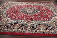 Excellent High-End Floral Red Kirman Area Rug Hand-made Living Room Carpet 10x13