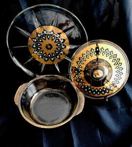 Fire King Gold Speckled Turquoise 2qt Casserole Dishw/Lid & Serving Platter