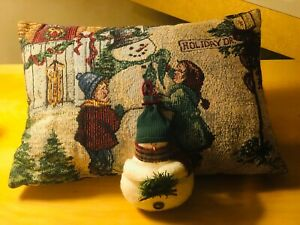 "Vintage Snowman Pillow 15"" x 10"" and Mini Snowman 5"" Pillow Set"