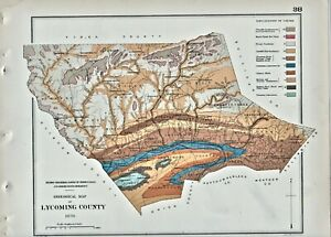 """1878 LYCOMING   COUNTY PENNSYLVANIA GEOLOGY MAP COLOR 11"""" X 9""""."""